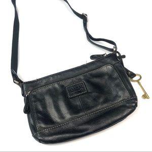Fossil   Black Crossbody Leather Bag